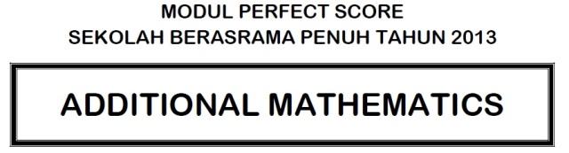 Perfect Score AddMat2013