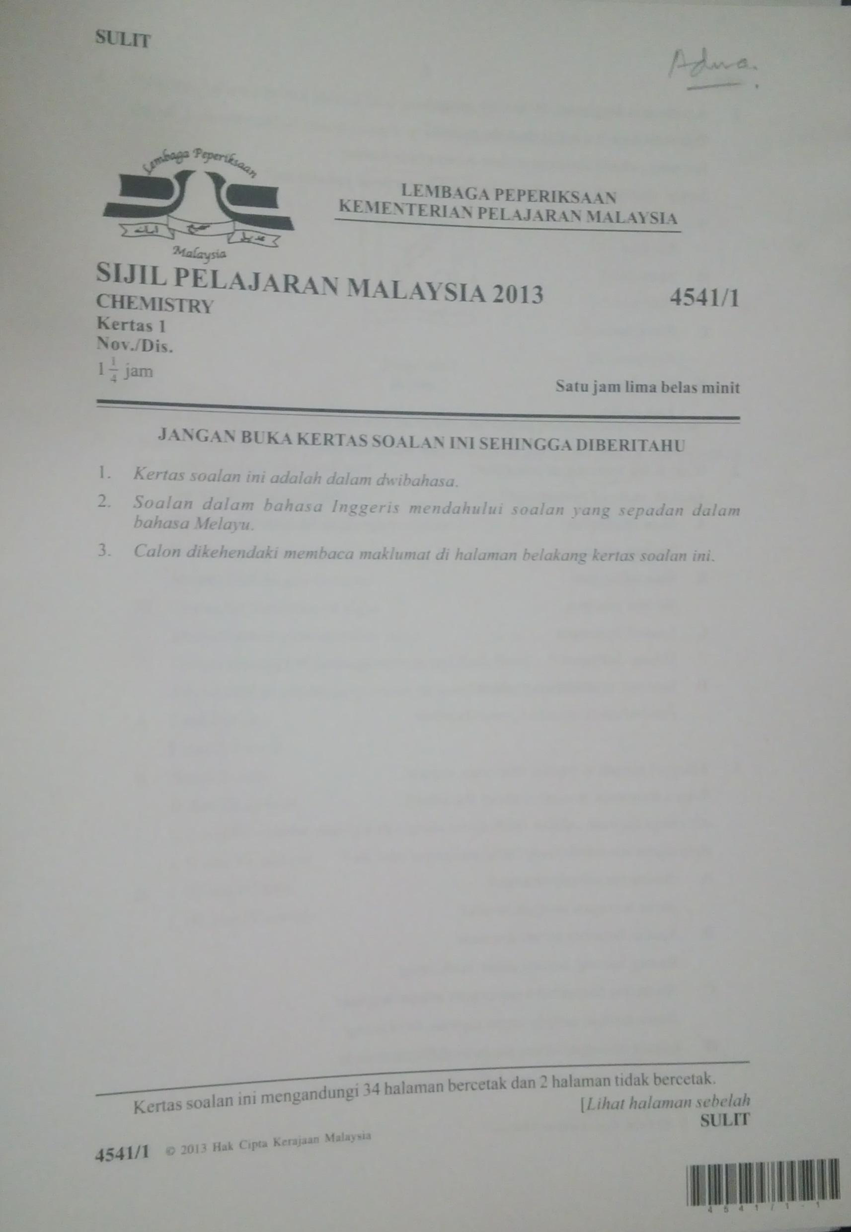Images for Jawapan Kertas 1 Subjek Kimia Spm 2012